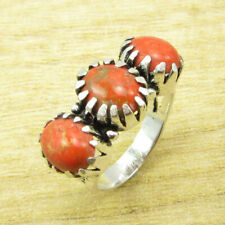 Classic ORANGE COPPER TURQUOISE Ring Size 6 ! Silver Plated Fashion Jewelry NEW