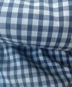 """NAVY BLUE GINGHAM CHECK 1/4"""" cotton mix fabric sold/PER METRE/"""
