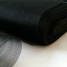 SLIGHTLY STIFF FILTER FABRIC-NYLON MESH-WATER STRAIN-MOSQUITO-1 m x 150 cm-BLACK