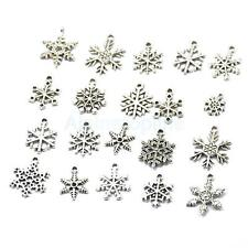 20pcs Mixed Silver Snowflake Charms Pendants For Jewelry Making Craft DIY