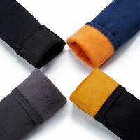 Women Denim Pants Fleece Lined Trousers Skinny Legging Thermal Thick Winter Slim