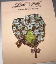 "KIRKS FOLLY NWOT/SIGNED ""FORGET ME NOT BROOCH""  GOLD FINISH W/RHINESTONES-WOW"