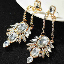 Long Clear Crystal Chandelier Clip On Earrings Drag Queen Pageant 3  5/8 Inch