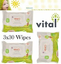 Vital Baby Super Fragrance Free Hand and Face Wipes 3x30