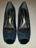 "NICKELS SOFT ""Acorn"" Womens Blue Suede Peep Toe Wedge Heel Shoes Sz 8M"