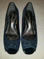 """NICKELS SOFT """"Acorn"""" Womens Blue Suede Peep Toe Wedge Heel Shoes Sz 8M"""