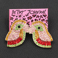 Betsey Johnson Crystal Rhinestone Cute Little Bird Ear Stud Animal Earrings