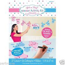 15FT GENDER REVEAL BABY SHOWER PARTY BOY GIRL BANNER ACTIVITY KIT DECORATION