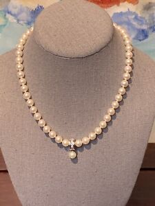 Classic Strand Of White Majorica Pearls With Sterling Silver Pendant & 6 CZ New