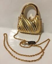 GENUINE AUSTRIAN CRYSTAL  Gold Metal Small Clutch Evening Bag Purse Chain