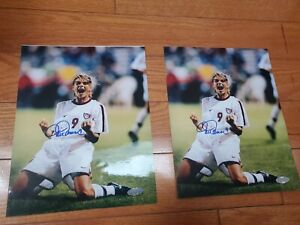 Mia Hamm on Knees Celebration U.S World Cup Signed Photo 8x10 Steiner COA