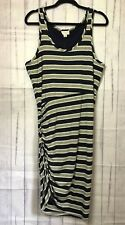 Witchery Dress Stripe Short Sleeve Black Grey Stretch Ruched RRP $99.95 Size 16