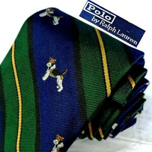 Polo by Ralph Lauren Hand Made Italy Silk Tie Blue Green Stripes TERRIER DOGS