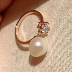 White Baroque Pearl Open Adjustable Zircon Rose Gold Ring Wedding Diy Hand-made