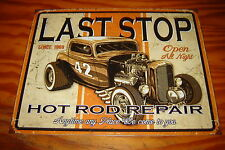 Vintage Style LAST STOP GAS SERVICE GARAGE METAL RAT HOT ROD USA FORD CHEVY RUST