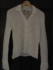 New Sz. M  ONYX   NITE White Textured Long Sleeve Botton Down Blouse