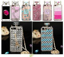 Apple iPhone 8 7 Plus X XS Bling 3D Crystal Diamonds Clear Hard Case Cover Chain
