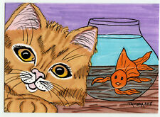 TAMBRA Fish Goldfish Kitty Ginger Tabby CAT Kitten ACEO Art Original Painting