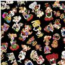 Loralie Harris Sew Curious Sewing Ladies Toss Black Cotton Fabric By The Yard