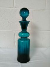 Vintage Teal Blue Glass Decanter Genie Bottle with Stopper 41cm Tall