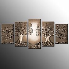 Framed Canvas Prints Love Trees Abstract Painting Wall Art for Living Room 5pcs Large