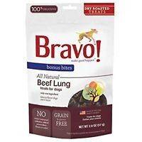 Bravo! Bonus Bites Dry-Roasted Beef Lung Dog Treats, 2 Ounces, Made in The USA