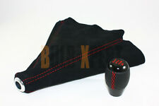 M10 X 1.5 LEATHER 6 SPEED SHIFT KNOB RED STITCHING + BLACK SUEDE BOOT FOR HONDA
