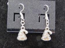 Tibetan Silver Christmas Hat Dangle Earrings on Silver Plate Fish hook Findings