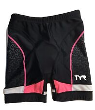 Women's Small Tyr Triathlon Tri Racing Shorts Black With Bright Pink