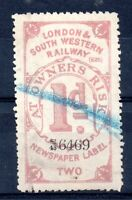 London & South Western Railway 1d Newspaper Label used WS12392