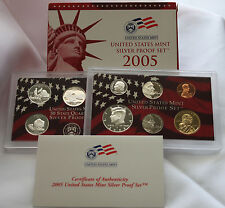 2005 United States Mint ANNUAL 11 Coin SILVER Proof Set 90% State Quarters Half