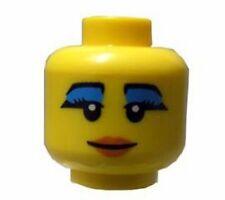 LEGO - Minifig, Head Female, Black Eyebrows, Eyelashes & Blue Mascara, Red Lips