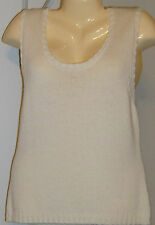 Per Se Sleeveless Sweater Off White Wool $210 Large New with Tags Per Splendor