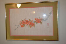 Vintage Japanese/Chinese Painting on LINEN ASIAN ART Signed Artist watercolor