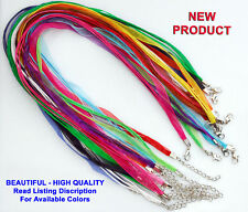 100 QTY - ORGANZA RIBBON NECKLACE 18-20 Inch Cord Clasp Jewelry PICK YOUR COLORS