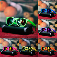 NEW MENS NEON SUNGLASSES RETRO RAVE TRENDY GEEK FUN SHADES MIRROR LENS 6 COLORS