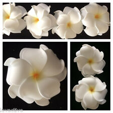 "3"" Hawaiian DOUBLE Plumeria Flower FOAM Hair CLIP White w/ Yellow Hub Wedding"