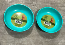 2 Pet Bowls Dish Easy Clean Aqua Heavy Duty With No Tip Non Slip Rubber Bottom.