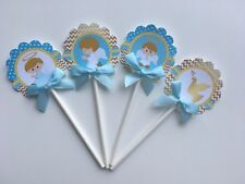 Baptism cupcake toppers, Baptism theme, Gold and Blue  1 dozen