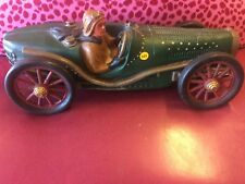 Racecar wood Hand Paint Vintage Rare Heavy With Driver Figure