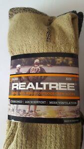Realtree Men's Mid-Weight Outdoor Crew Socks 3-PR Sz 10-13 Tan/Brw/Blk