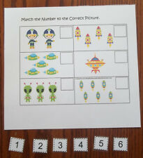 Space themed laminated Match the Number activity for preschool.  Child math gam