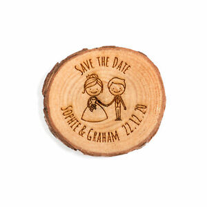 Engraved personalised rustic log slice Mr and Mrs couple Save the Date invite