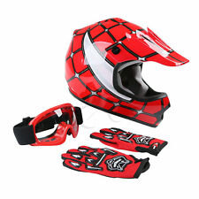New DOT Youth Kids Red Spider Net Motocross Off-Road Helmet MX Goggles+Gloves M