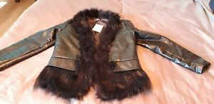 New Black Faux Leather Fur Trimmed Jacket Coat Womens Large