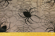BLACK FOIL SPIDER & WEB ON NET FABRIC - IDEAL FOR HALLOWEEN - width 150 cms