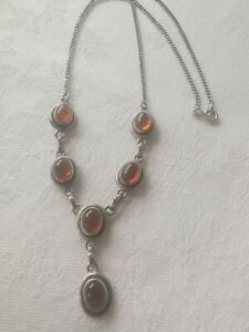Sterling Silver Beautiful REAL Amber Necklace