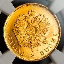 1882, Finland, Emperor Alexander II. Gold 10 Markkaa Coin. Gem! NGC MS-65 (+)