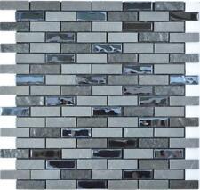 Mosaico Piastrella vetro pietra composito autoadesivo muro nero 200-003 |1foglio