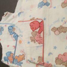 Vtg 40s 50s baby cotton flannel fabric PINK BEAR scrap remnant bundle 8 ounce